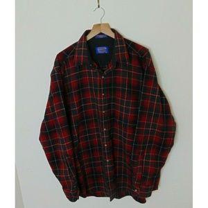 Pendleton XL Virgin Wool Flannel Shirt Red Green